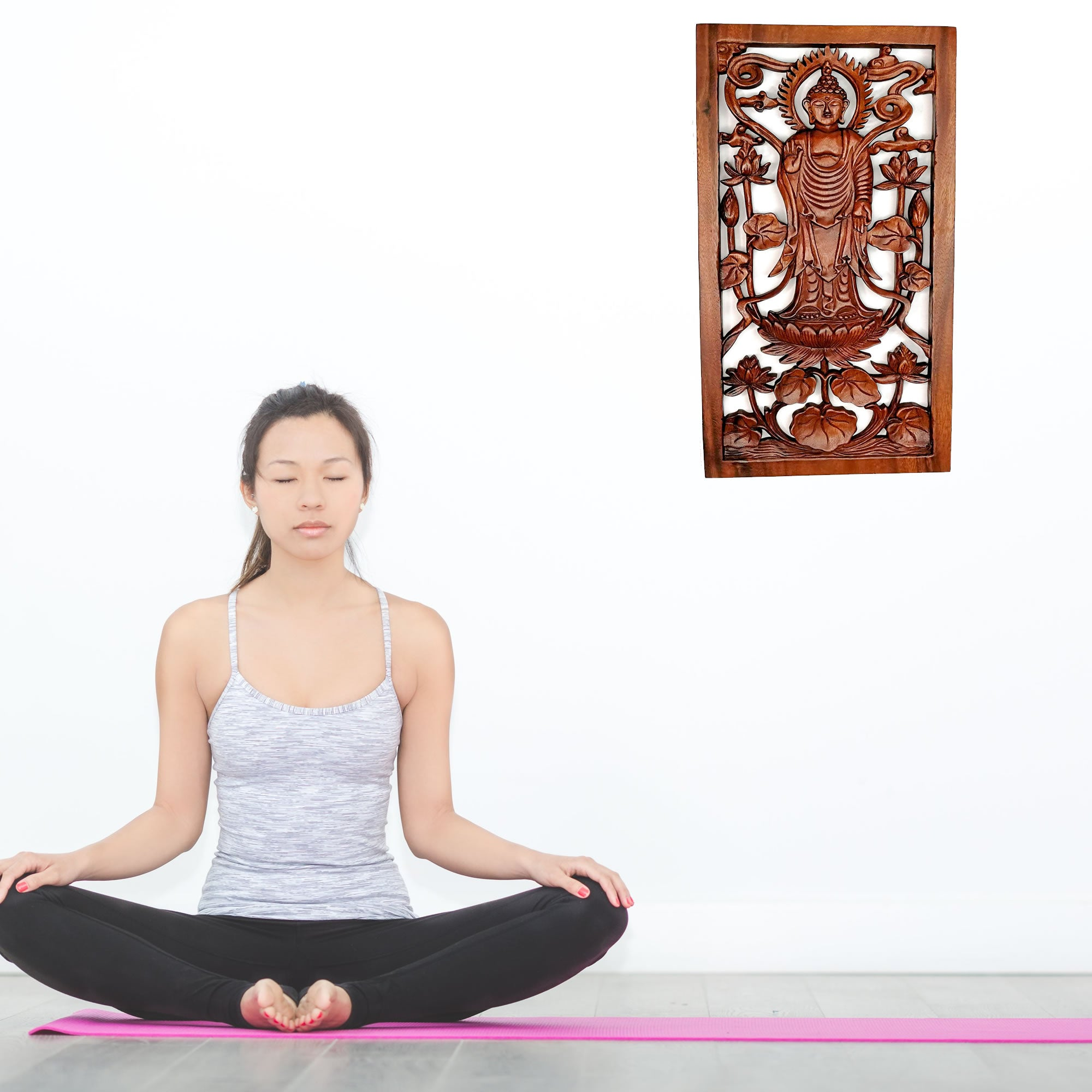 Hand Carved Wooden Decorative Panel Standing Buddha Peace Yoga Meditation