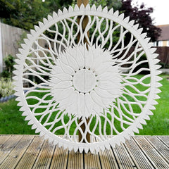 Mandala Headboard Large Decorative Wall Hanging Sculpture Art Wood carving Shabby Chic Distressed White Easternada