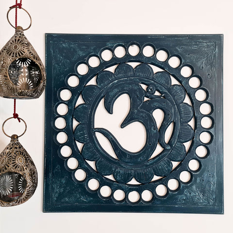 Handmade Carved Wooden Decorative Wall Art OM Mantra Distressed Indigo Blue
