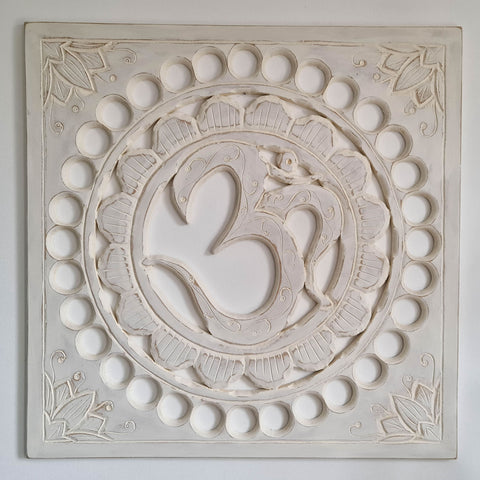 Handmade Carved Wooden Decorative Wall Art OM Mantra Distressed White