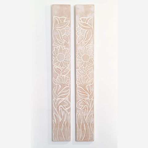 Carved Wooden Wall Art - Long Decorative Mandala Yoga Panels Meadow - Set of Two
