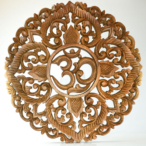 Handmade Carved Wooden Decorative Wall Art Lotus Om Panel - Easternada