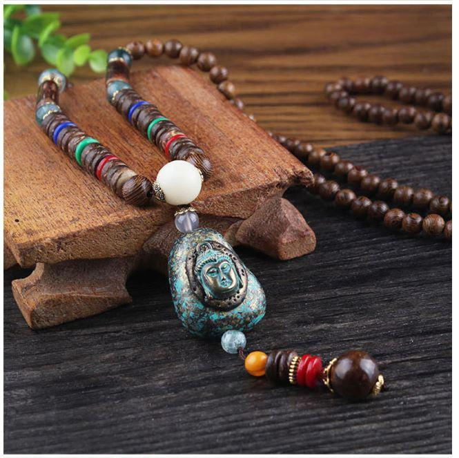 Blessed Buddhist Monk Meditation Beads Wooden Necklace Bohemian