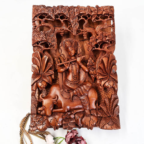 Hand Carved Wooden Hindu God - Hare Krishna Hindu Mandir Sculpture