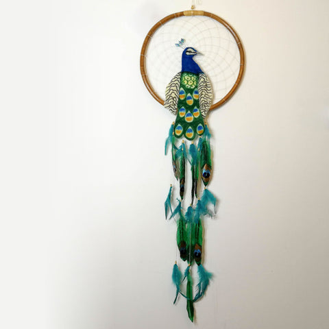 Peacock - Bohemian Feather Macrame Hanging Dream Catcher Large