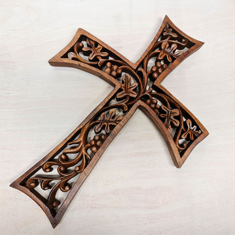 Christian Prayer Cross Tree of HOPE Carved Wooden Decorative Panel Sculpture Art