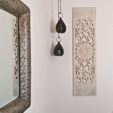 Hand Carved Wooden Wall Art - Distressed White Decorative Mandala Yoga Panel