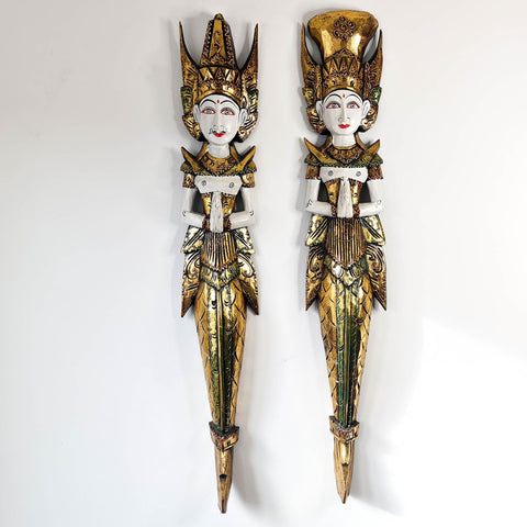 Handmade Carved Wooden Decorative Wall Art Water Goddess Set Large