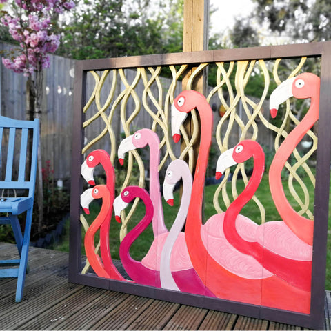 Carved Painted Wooden Wall Art - Large Headboard Decorative Flamingos Nature Painted Panel Wall Hanging