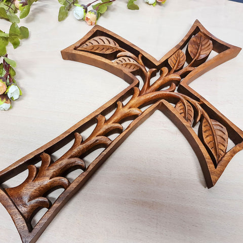 Christian Prayer Cross Tree of Life Carved Wooden Decorative Panel Sculpture Art