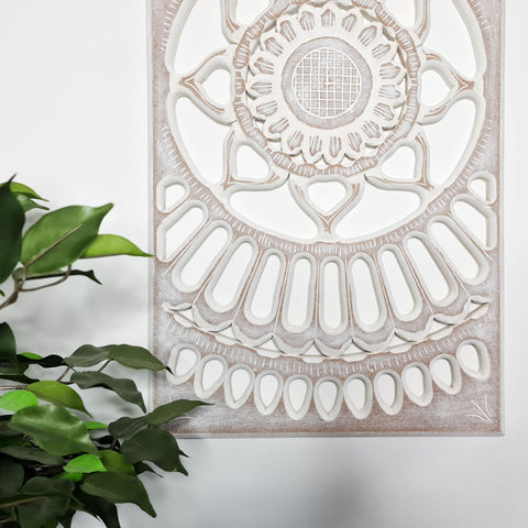 Carved Painted Wooden Wall Art - Large Headboard Decorative Mandala Yoga Panel