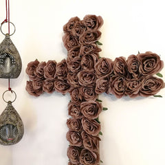 Decorative Christian Cross Wall Hanging - Jesus Religious Bohemian Style Silk Rose Flowers Church Cross