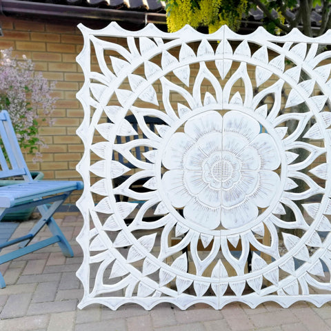 Carved Wooden Wall Art - Large Decorative Mandala Yoga Distressed Shabby Chic Eco Panel Headboard Sculpture 48
