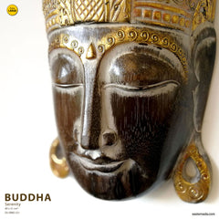 Handmade Carved Wooden Decorative Wall Art Buddha Large - Easternada