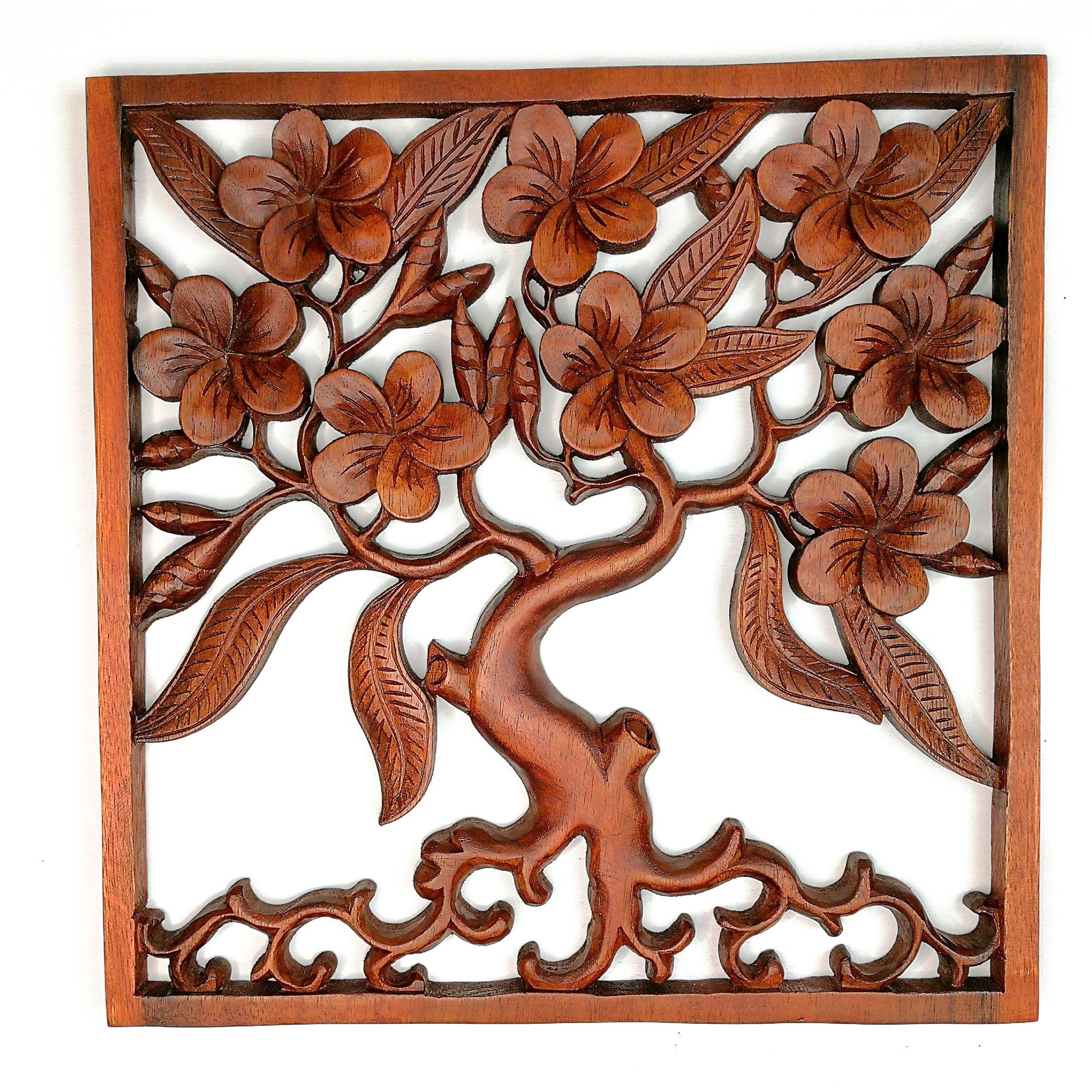 Hand Carved Wooden Decorative Panel Art Sculpture Tree of Hope Wealth