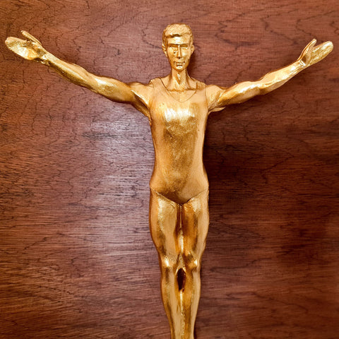 Modern Golden Metal Cast Sculpture Jumping Man Interior Wall home Decoration