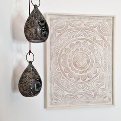 Carved Wooden Wall Art - Decorative Mandala Yoga Distressed  Eco Panel Headboard Sculpture