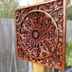 Hand Carved Wooden Decorative Panel Art Sculpture Mandala Yoga Peace