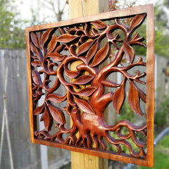 Hand Carved Wooden Decorative Panel Art Sculpture Tree of Hope Life Destiny