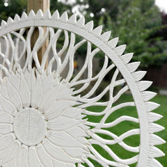"Carved Wooden Wall Art - Large Decorative Mandala Nature Eco Panel Headboard Sculpture 48"" inches Round Distressed Shabby Chic White"