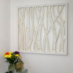 Carved Wooden Wall Art - Large Decorative Birch Trees Headboard