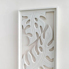 Carved Wooden Decorative Leaves Panel Art Sculpture White