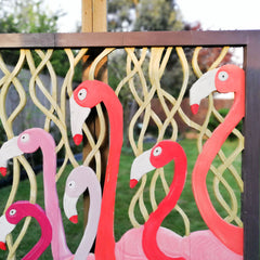 Carved Painted Wooden Wall Art - Large Headboard Decorative Flamingos