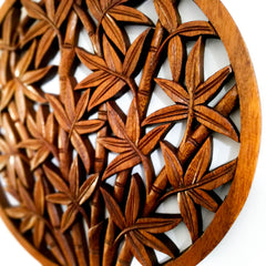 Hand Carved Wooden Decorative Panel Art Round Bamboo Shoots