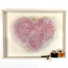 Large Love Heart Wall Art Decorative Shelf Headboard - Bohemian Style Fur Decor Valentine Gift
