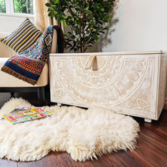 Handmade Carved wooden Ottoman Designer Furniture Storage Box Solution Distressed White