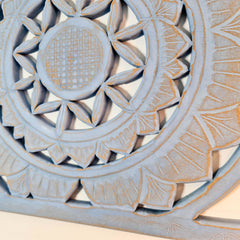 Carved Wooden Wall Art - Decorative Mandala Yoga Distressed Eco Panel Cool Blue Sculpture