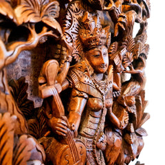 Goddess Saraswati Carved Wooden Decorative Hindu Mandir Sculpture Art - Easternada