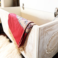 Handmade Carved wooden Ottoman Designer Furniture Storage Box Solution Distressed White - shabby chic