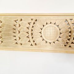 Carved Wooden Decorative Wall Panel Art Sculpture Gold Mandala - Easternada