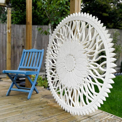 "Large Decorative Sunflower Nature Eco Panel Headboard Sculpture 48"" inches Round Distressed Shabby Chic White"