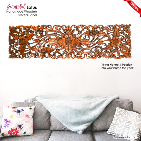 Handmade Wooden Carved Decorative Wall Headboard Panel