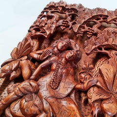Hand Carved Wooden Hindu God - Radha Krishna Sculpture Art Mandir