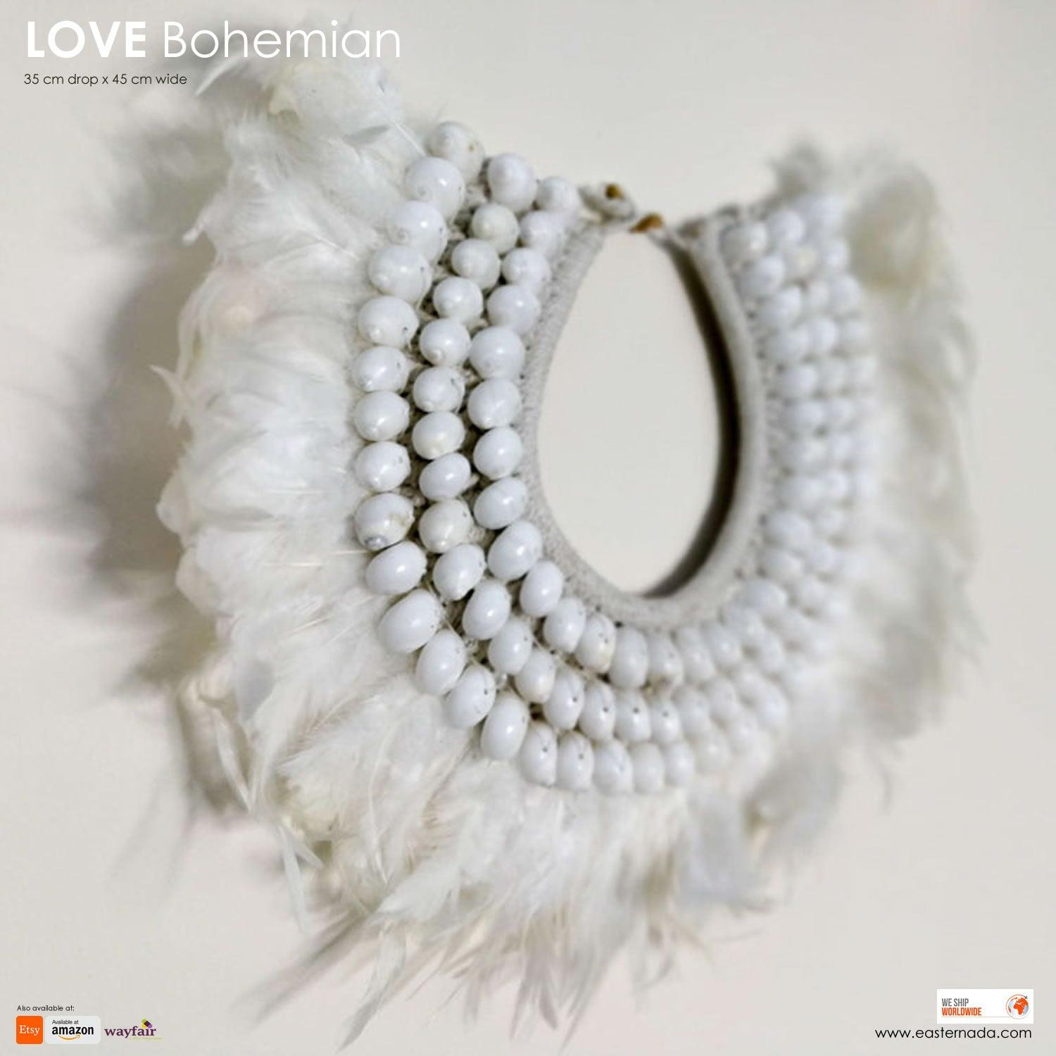Boho Bohemian Style Feather Sea Shells Handmade Decorative Costume Macrame Style Large Necklace Juju