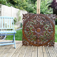 "35.5"" Handmade Carved Wooden Decorative Wall Art Lotus Headboard Panel"