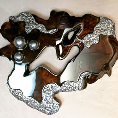 Hand made Decorative Solid Wood Steel Sculpture Interior Design Modern Art- Easternada