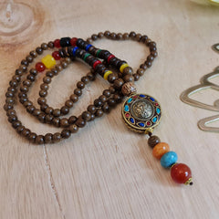 Blessed Tibetan Buddhist Monk Meditation Beads Wooden Necklace Bohemian