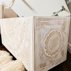Handmade Carved wooden Ottoman Designer Furniture Storage Box Solution Distressed White Blanket toys Shabby Chic