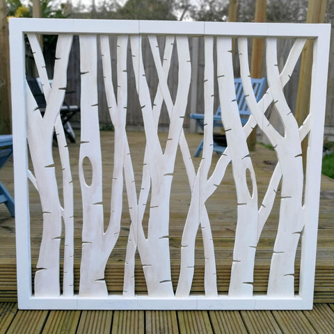 Carved Wooden Wall Art - Large Decorative Birch Tree Forest Nature Eco Panel Headboard Sculpture 46 x 39.5 inches