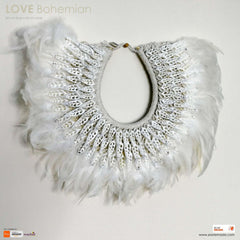 Boho Bohemian Style Feather Sea Shells Handmade Decorative Costume Macrame Necklace Juju