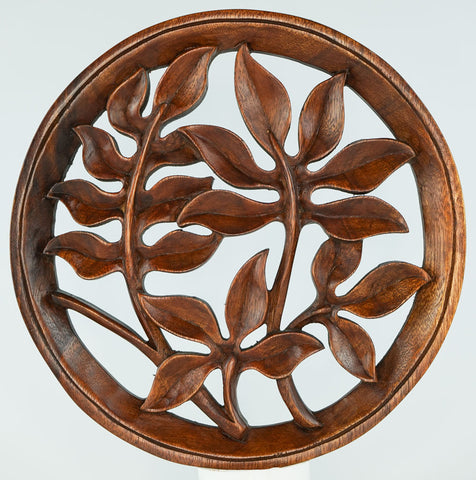 Stem Leaves Carved Wooden Decorative Panel - Easternada