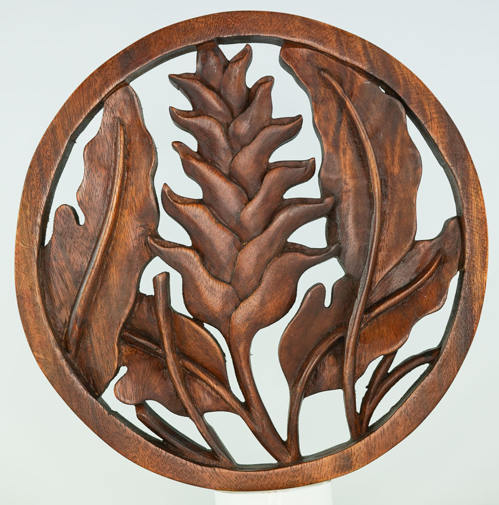 Water Lily Carved Wooden Decorative Panel - Easternada