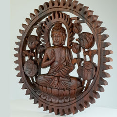 Hand Carved Wooden Decorative Panel Buddha - Easternada