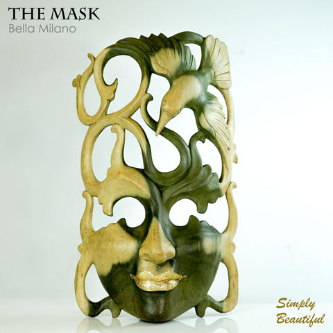 Handmade Carved Wooden Decorative Wall Art Mask Bella Milano - Easternada
