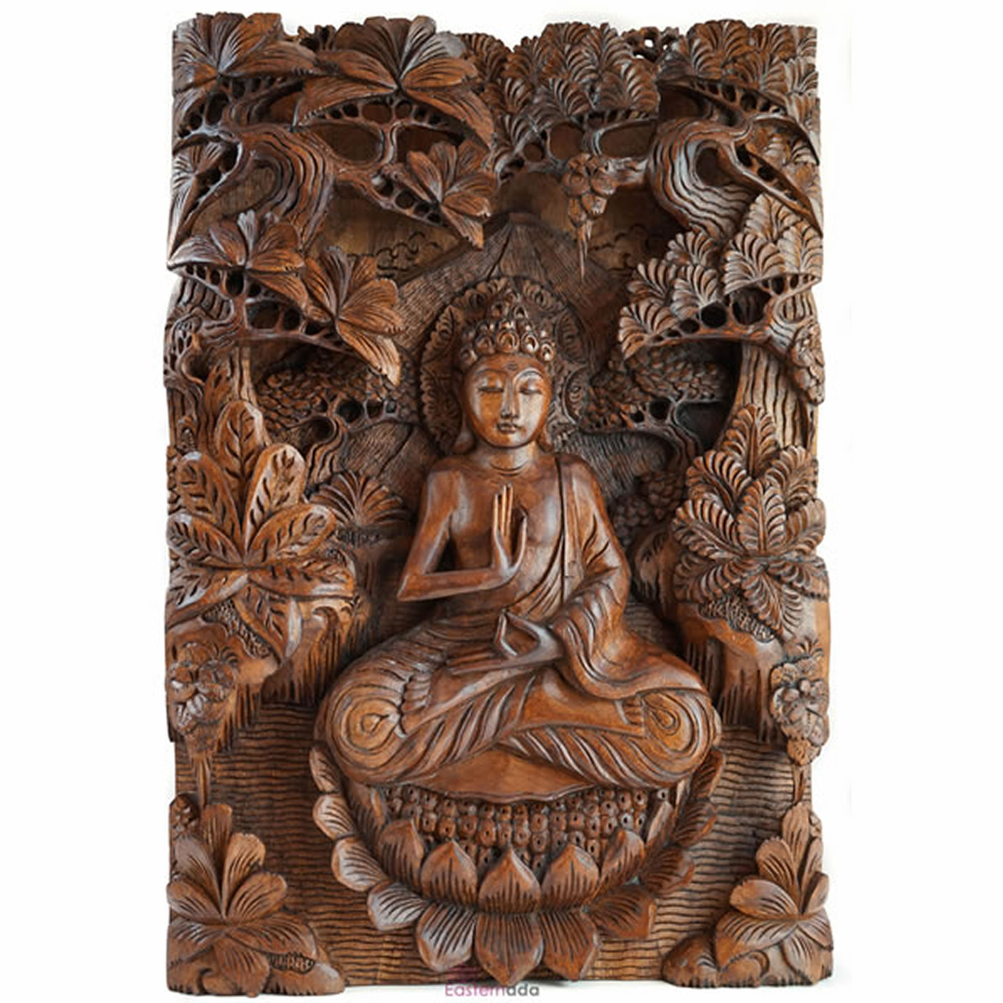 Buddha in Peace Carved Wooden Decorative Panel Sculpture Art - Easternada
