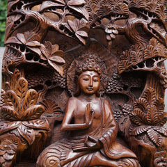 Buddha in Peace Carved Wooden Decorative Panel - Easternada